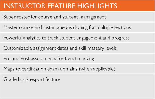INSTRUCTOR FEATURE HIGHLIGHTS